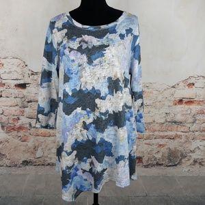 Soft Surroundings L Blue Floral Mirabelle Top